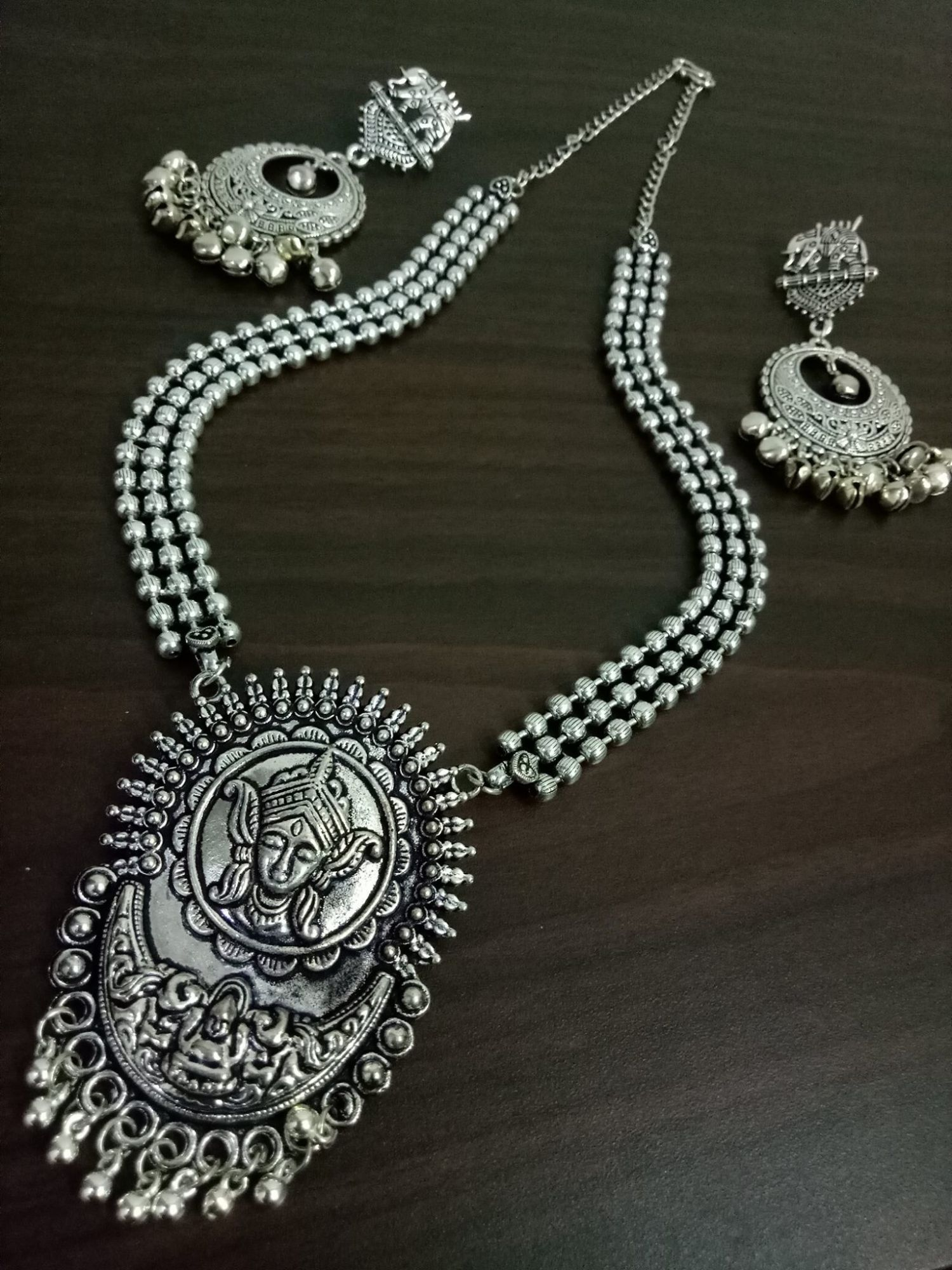 Adorable Oxidised Long Ball Chain Necklace Set