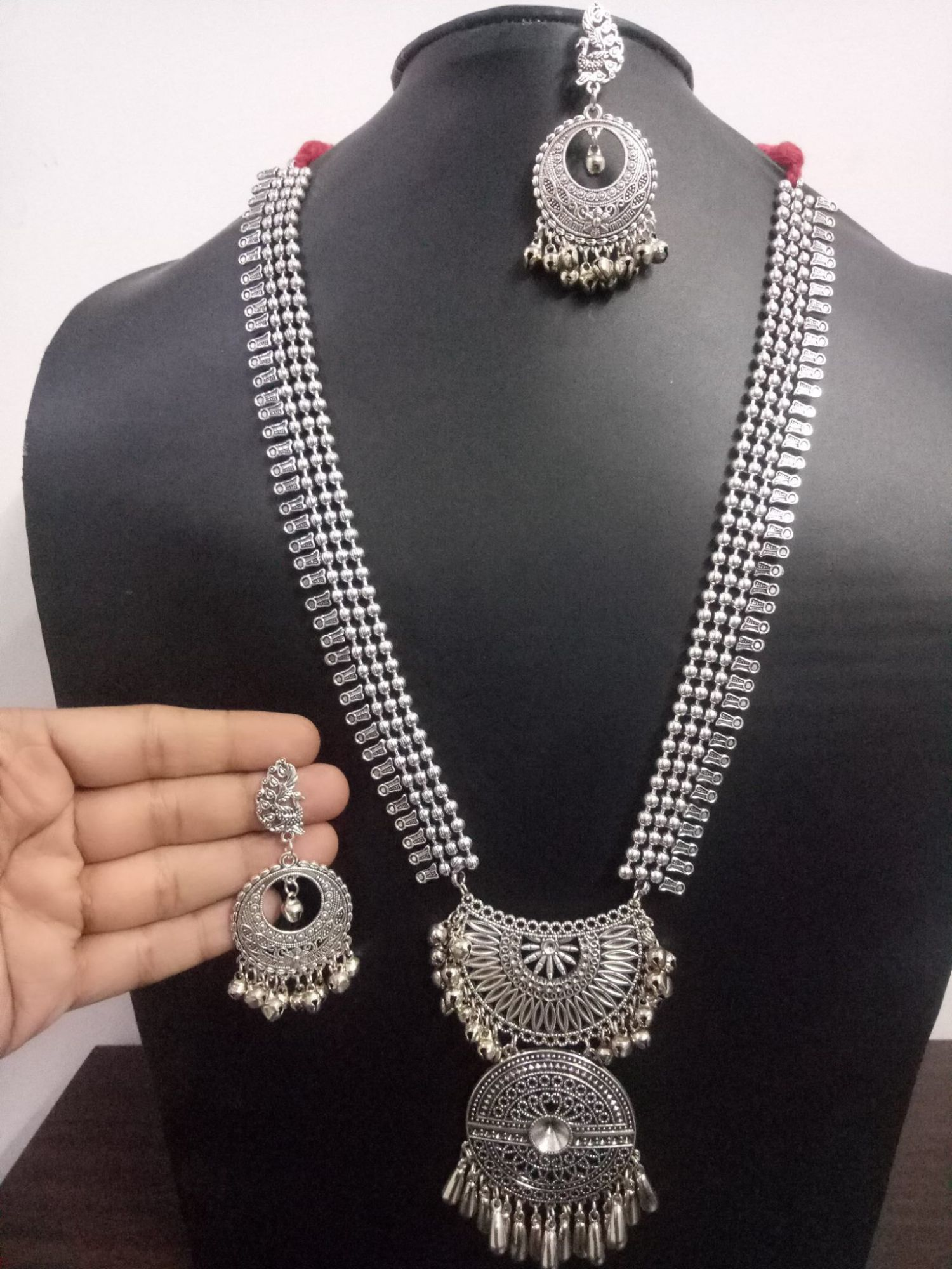 Exclusive Oxidised Ball Chain Long Necklace Set