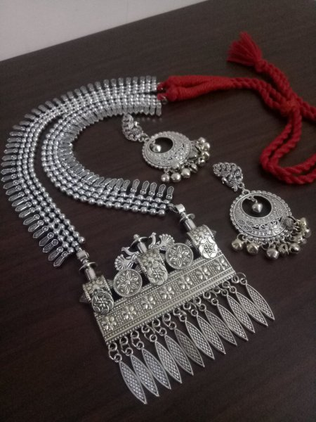 Ravishing Oxidised Ball Chain Long Bahubali Necklace Set