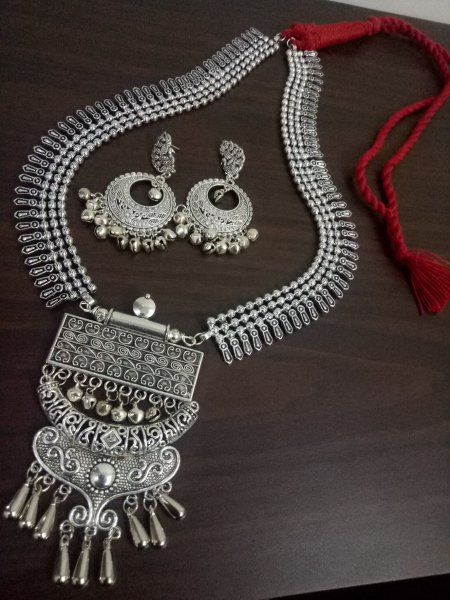 Rajwada Long Ball Chain Oxidised Necklace Set