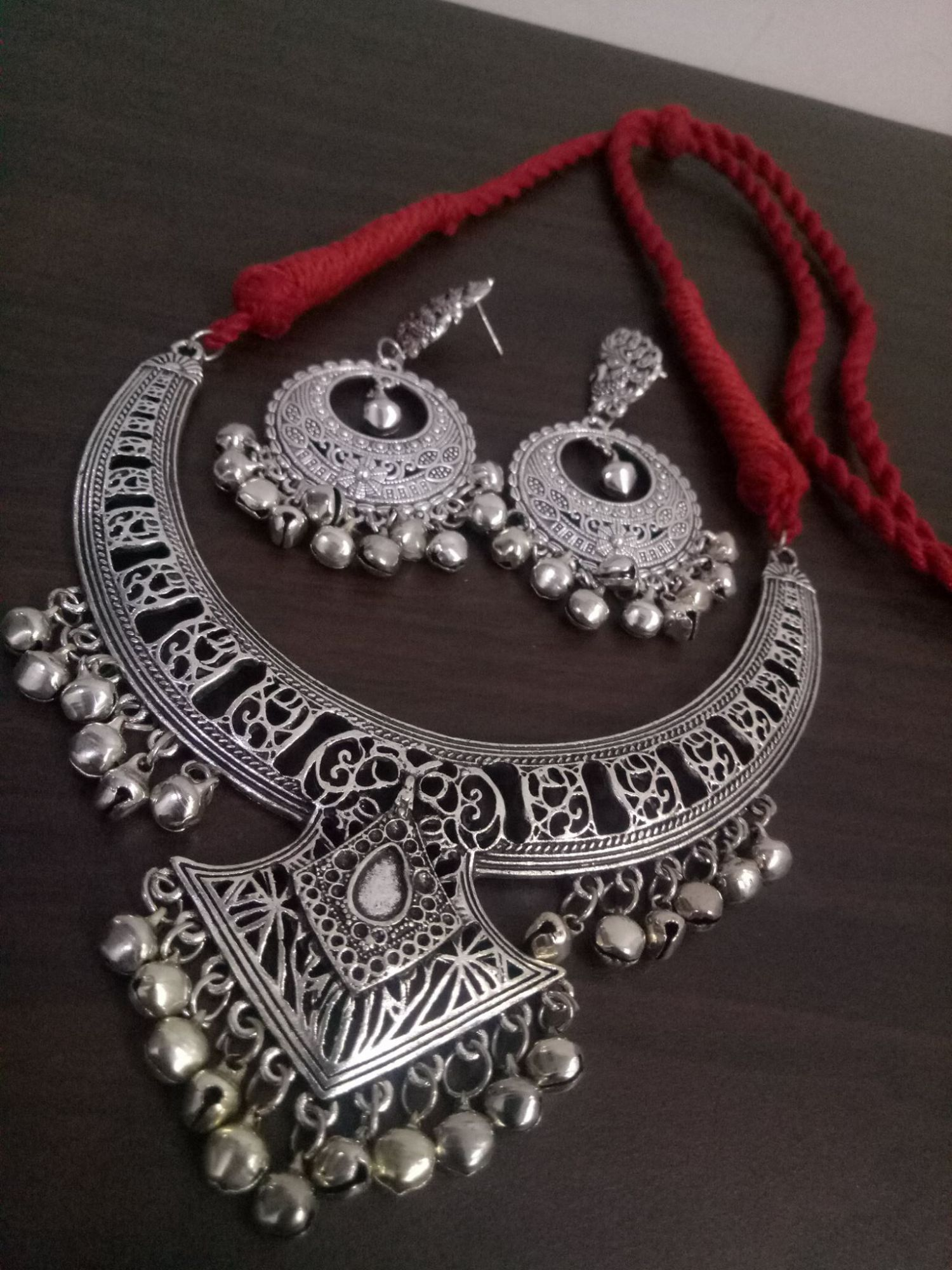 Tribal Oxidised Rajasthani Hasli Necklace Set