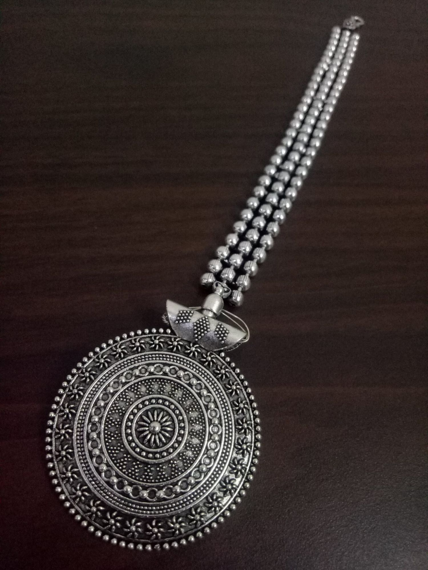 Ethnic Ball Chain Oxidised Maangtikka