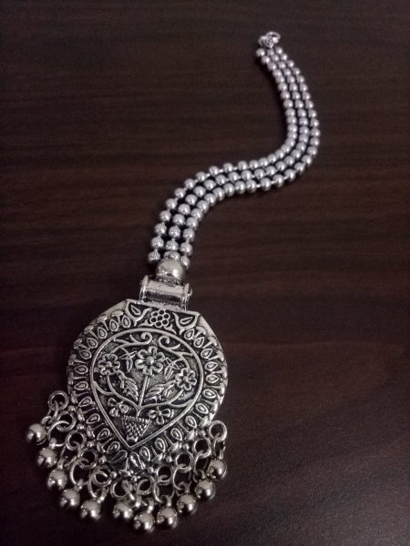 Designer Ball Chain Oxidised Maangtikka