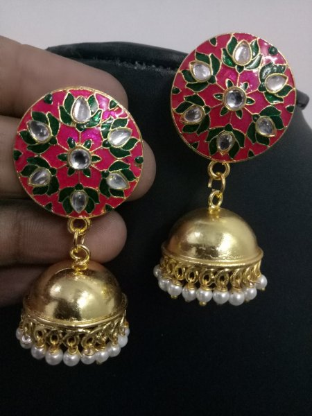 Elegant Jaipuri Meenakari Kundan Earrings