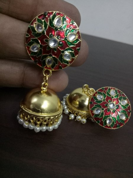 Beautiful Jaipuri Meena Kundan Tops Jhumka