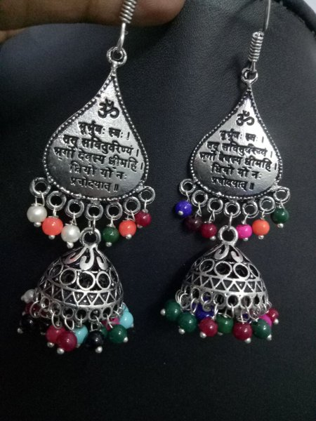 Attractive Mantra Oxidised Jhumka