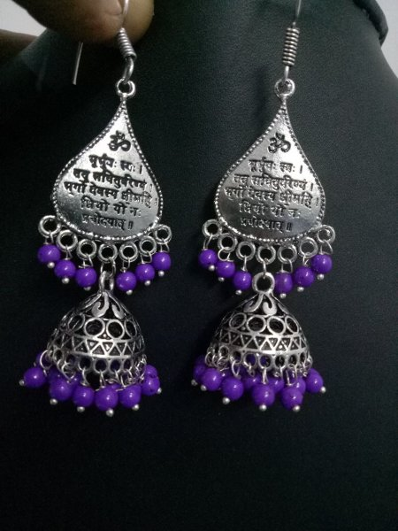 Pleasing Oxidised Mantra Jhumka Pair