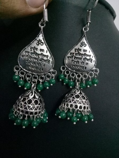 Pretty Looking Oxidised Beaded Jhumki