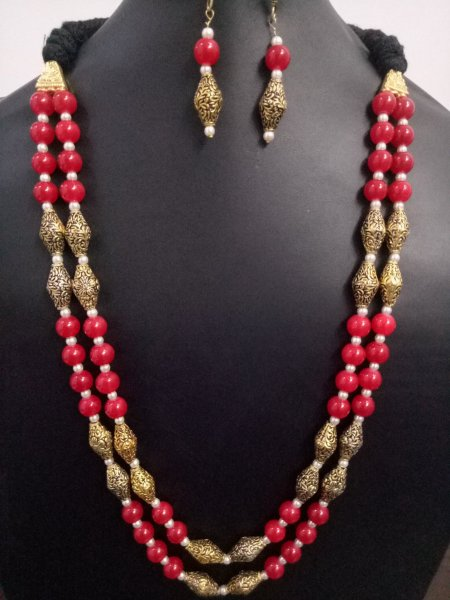 Royal Jaipuri Antique Beaded  2 Layer Mala