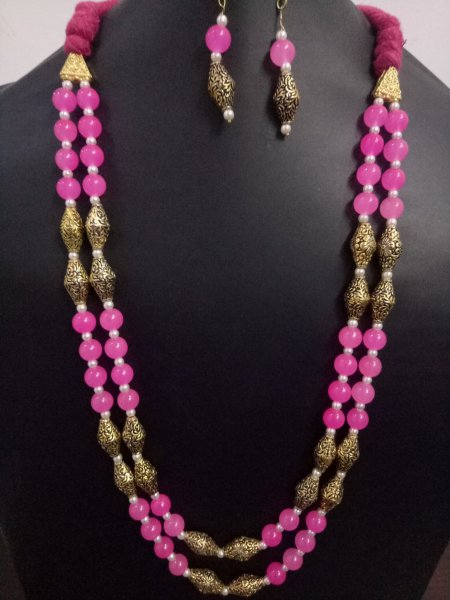 Elegant Jaipuri Antique Beaded Mala Set