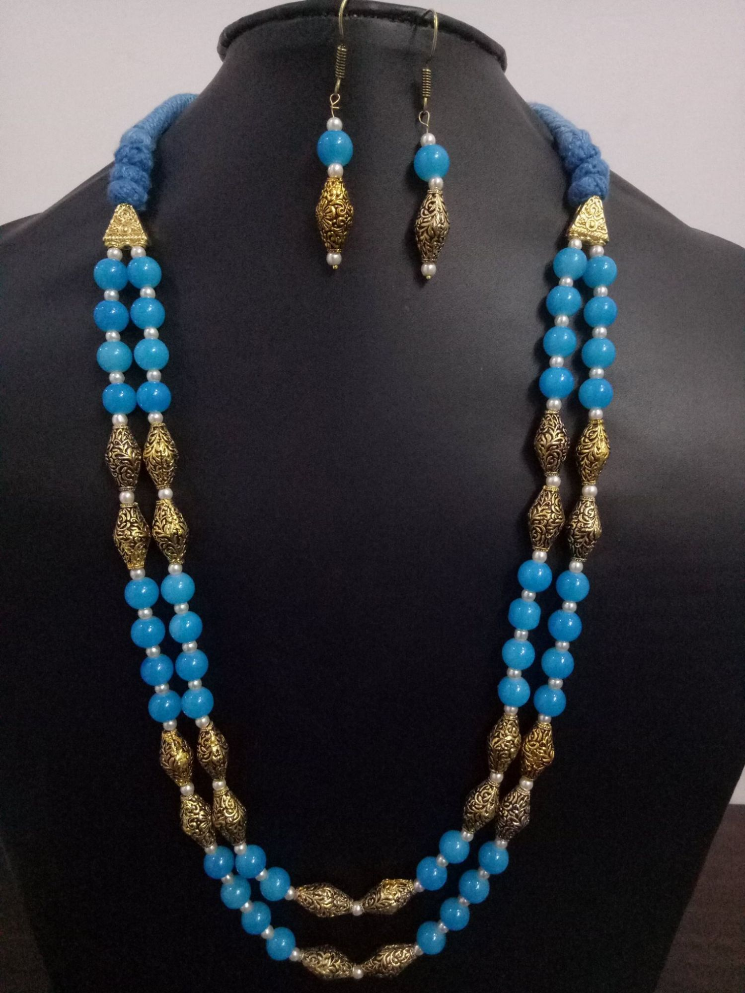 Classy Antique Beaded Jaipuri 2 Layer Mala Set
