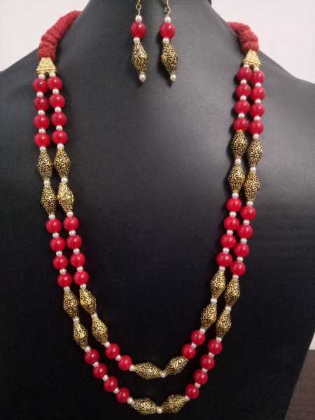 Royal Antique Beaded Jaipuri Mala Set