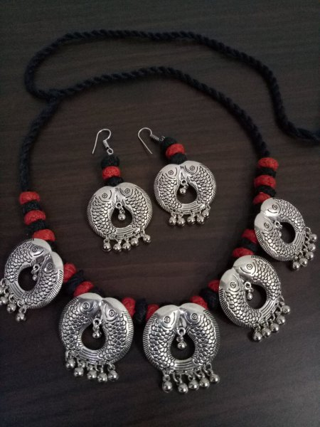 Antique Designer Oxidised Thread Necklace Set