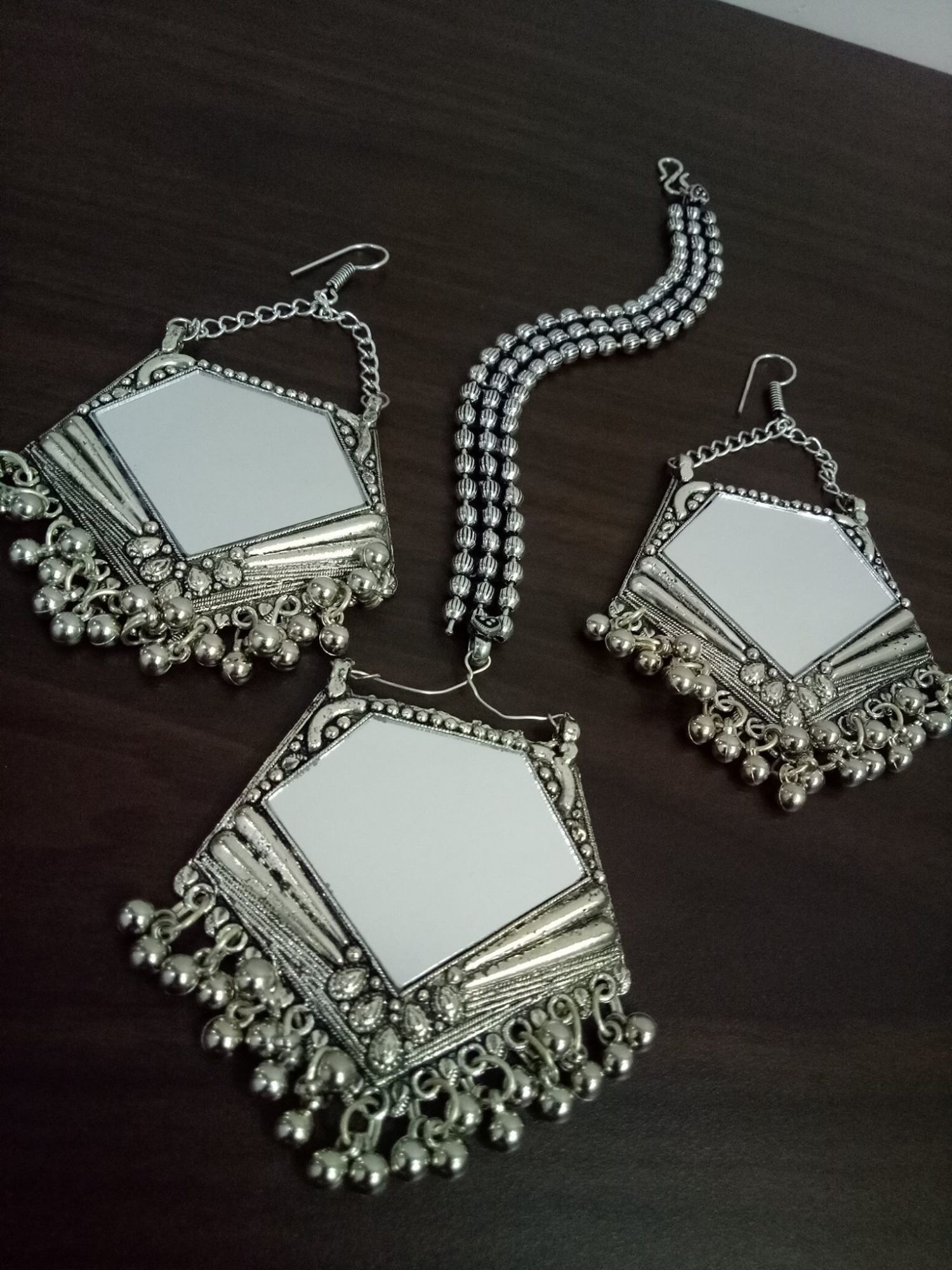 Vibrant Mirror Maangtikka & Earrings Set