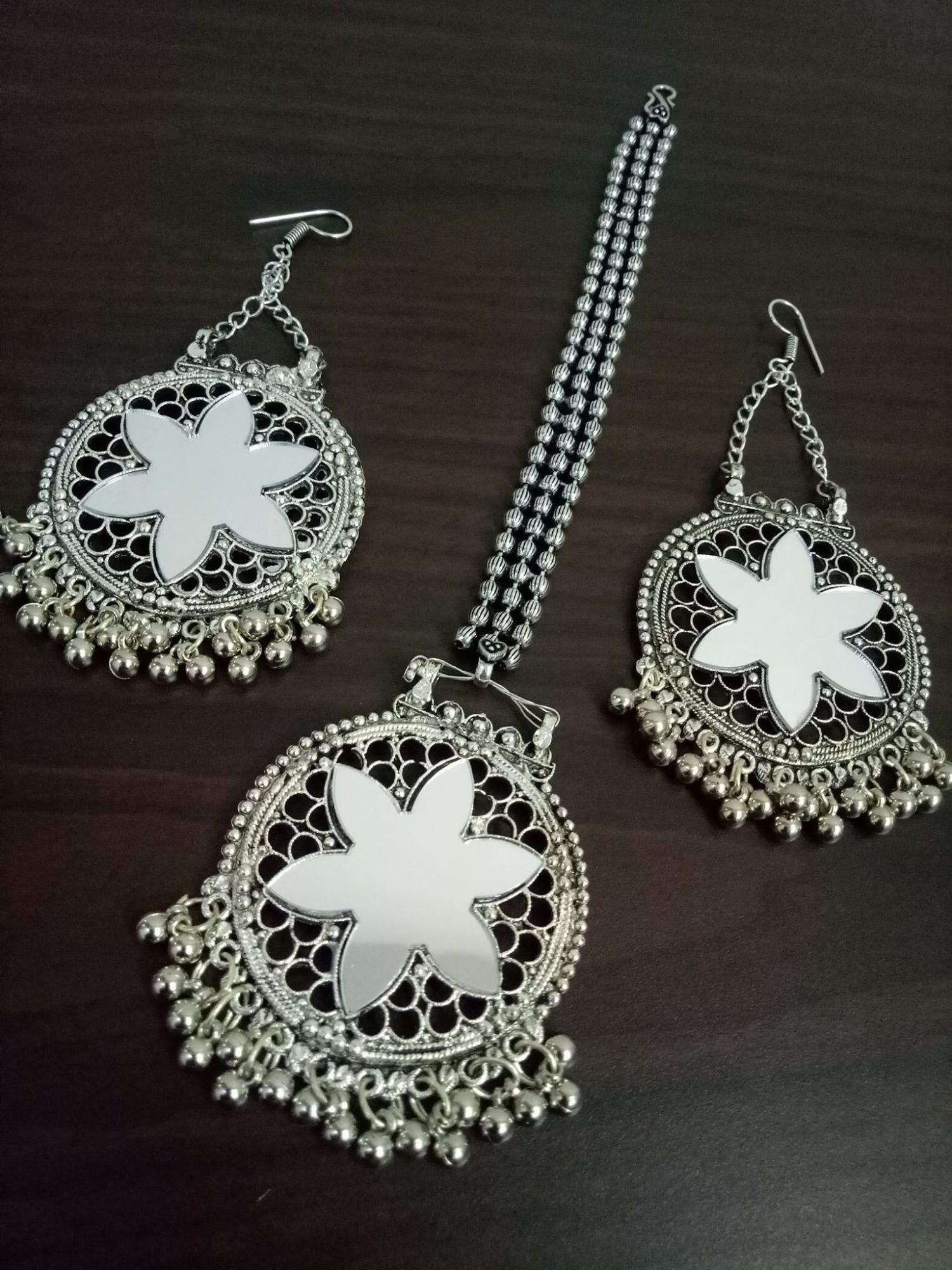 Royal Mirror Maangtikka & Earrings Set
