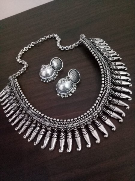 Royal Matt Finish Oxidised Kolhapuri  Necklace Set