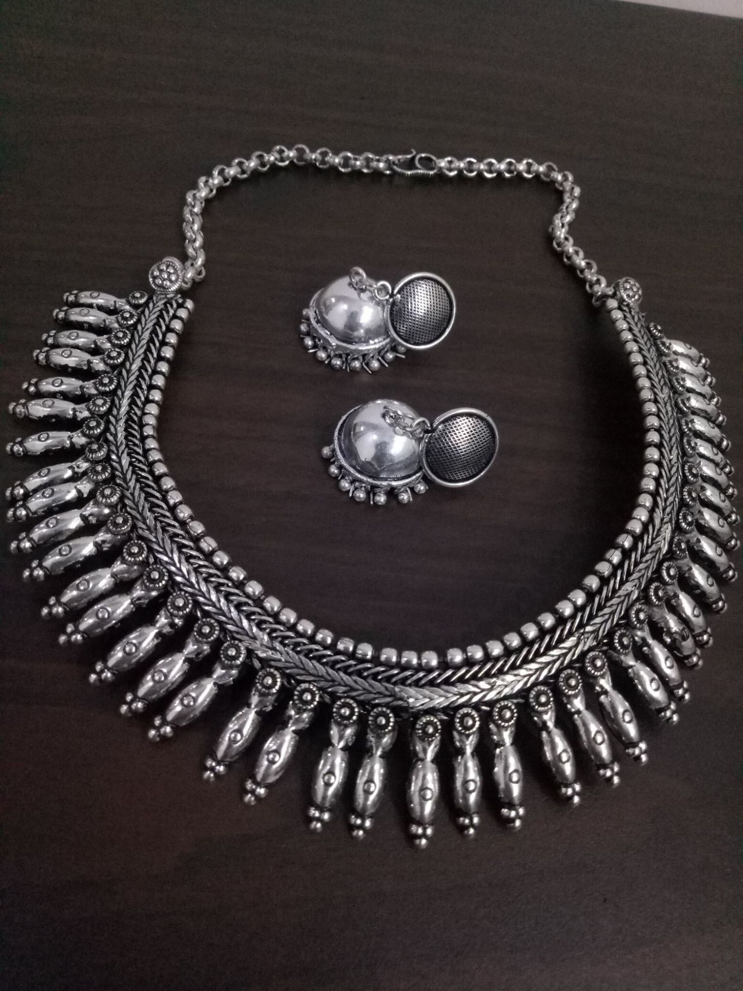 Dazzling Matt Finish Oxidised  Kolhapuri Necklace Set