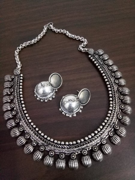 Gorgeous Oxidised Matt Finish Kolhapuri Necklace Set