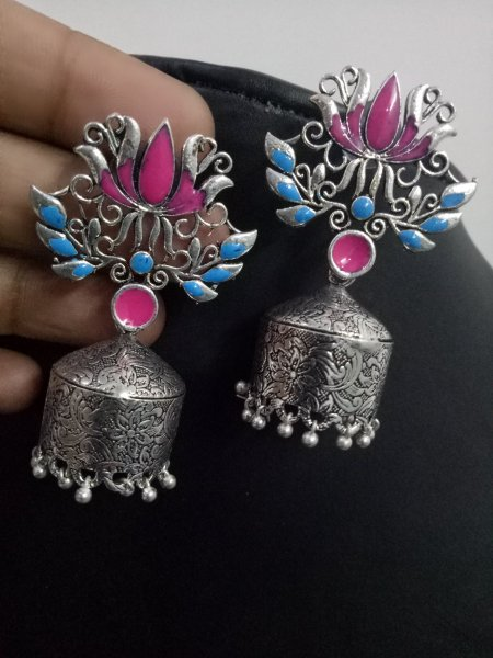 Antique Lotus Enamelled Jhumka