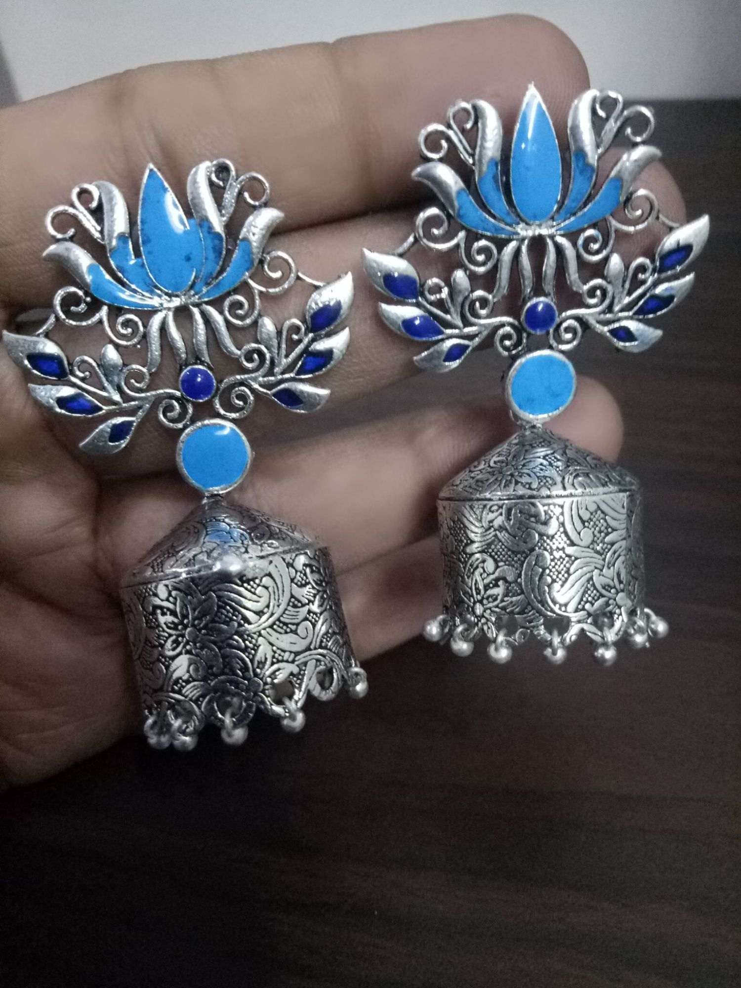 Glorious Enamelled Lotus Jhumka
