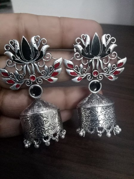 Trendy Lotus Enamelled Jhumka