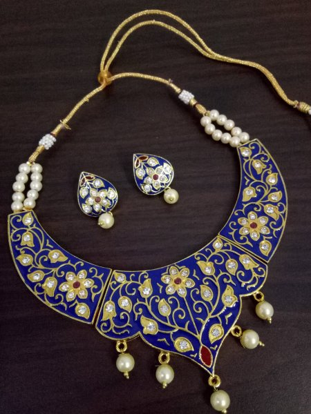 Royal Jaipuri Meenakari Hasli Necklace Set
