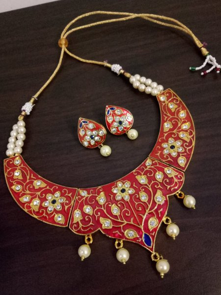 Partywear Meenakari Rajwada Hasli Necklace Set