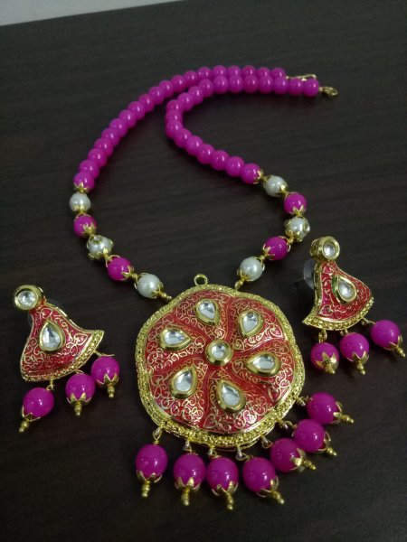 Antique Jaipuri Kundan Meenakari Necklace Set