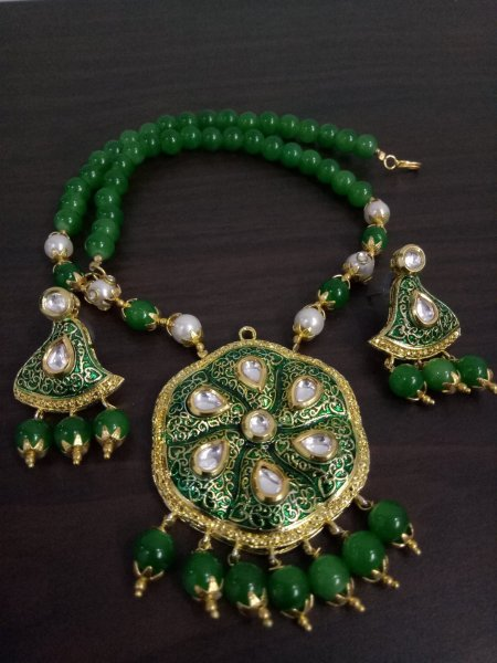 Embellish Kundan Enamelled Jaipuri Necklace Set
