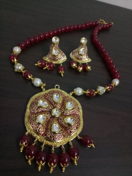 Traditional Rajputana Kundan Meenakari Necklace Set