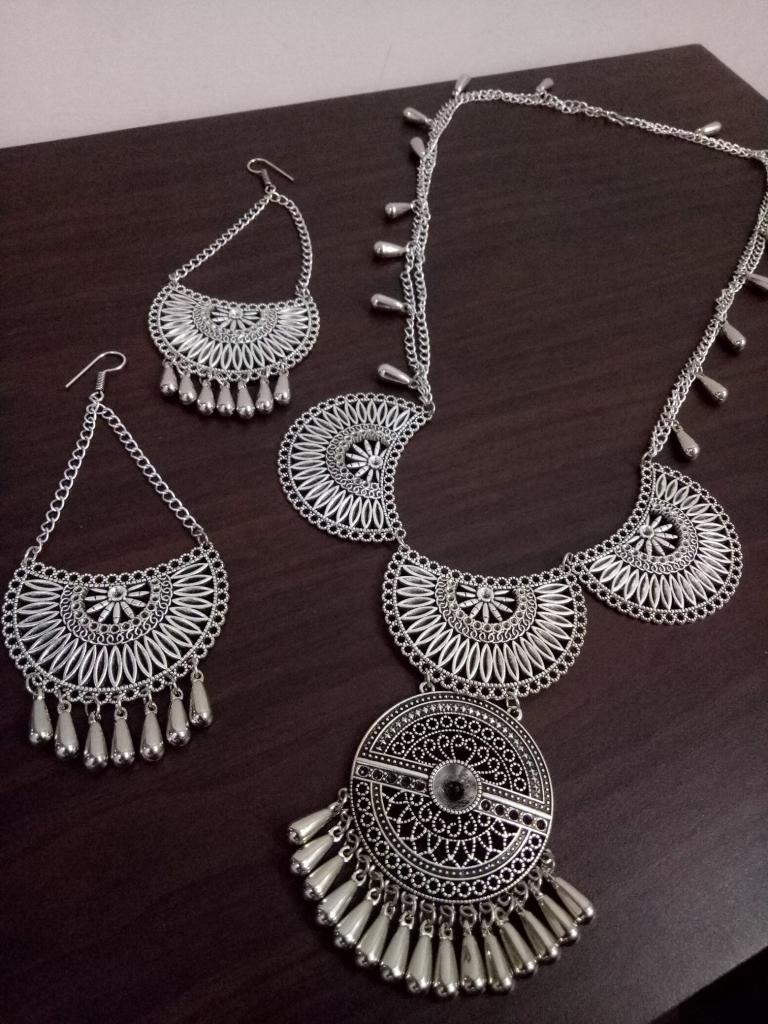 Oxidised Long Chain Cocktail Necklace Set