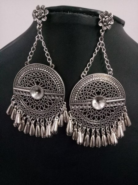 Trendy Big Oxidised Chain Long Studd Earrings