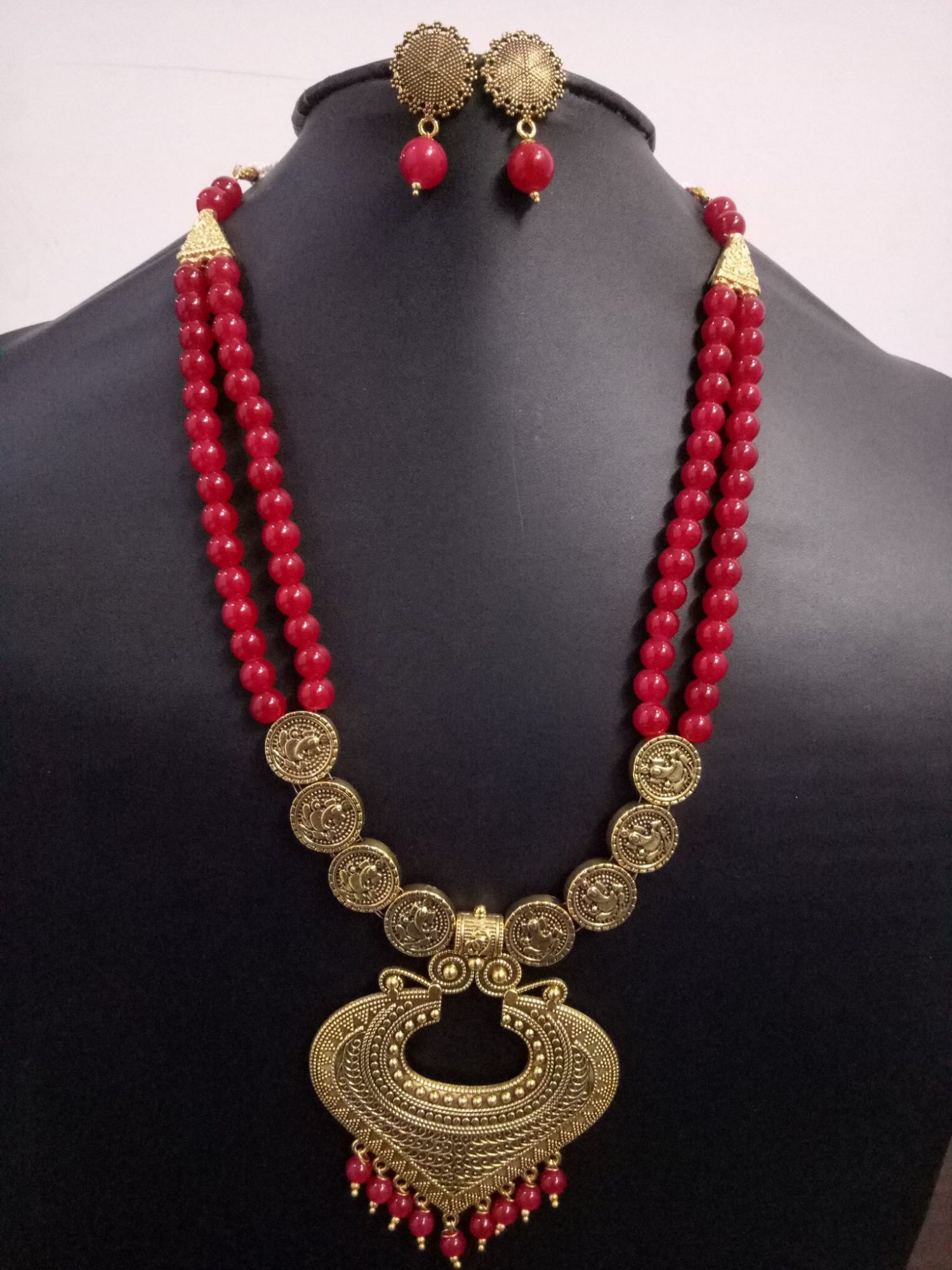 Partywear Oxidised Golden Long Pearl  Necklace Set