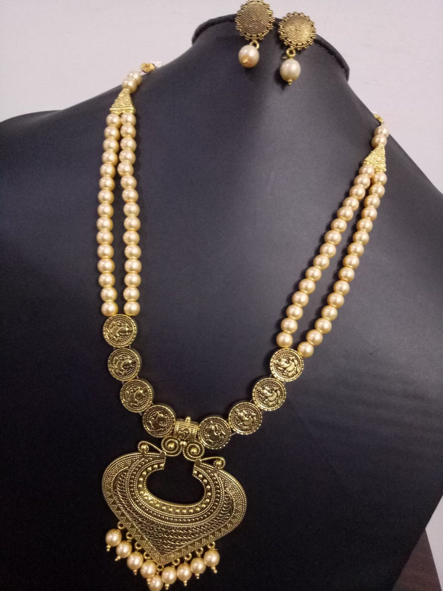 Beautiful Golden Oxidised Long Pearl Necklace Set