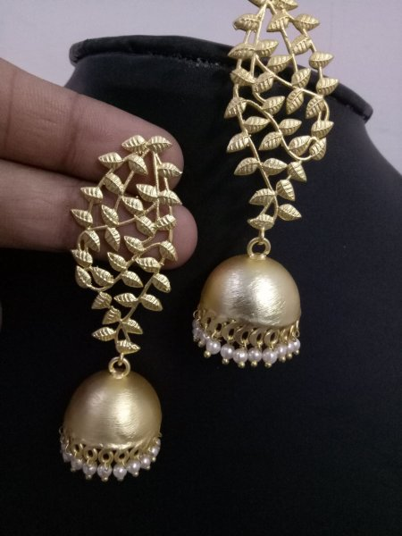 Designer Jaipuri Golden Earrings
