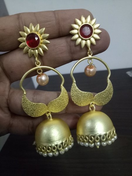 Attractive Gold Plated Jaipuri Jhumka