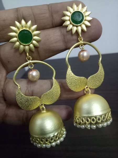 Charming Gold Plated Jaipuri Jhumka