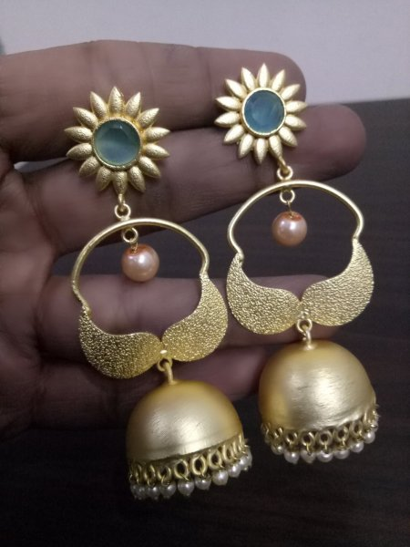 Beautiful Golden Jaipuri Jhumki