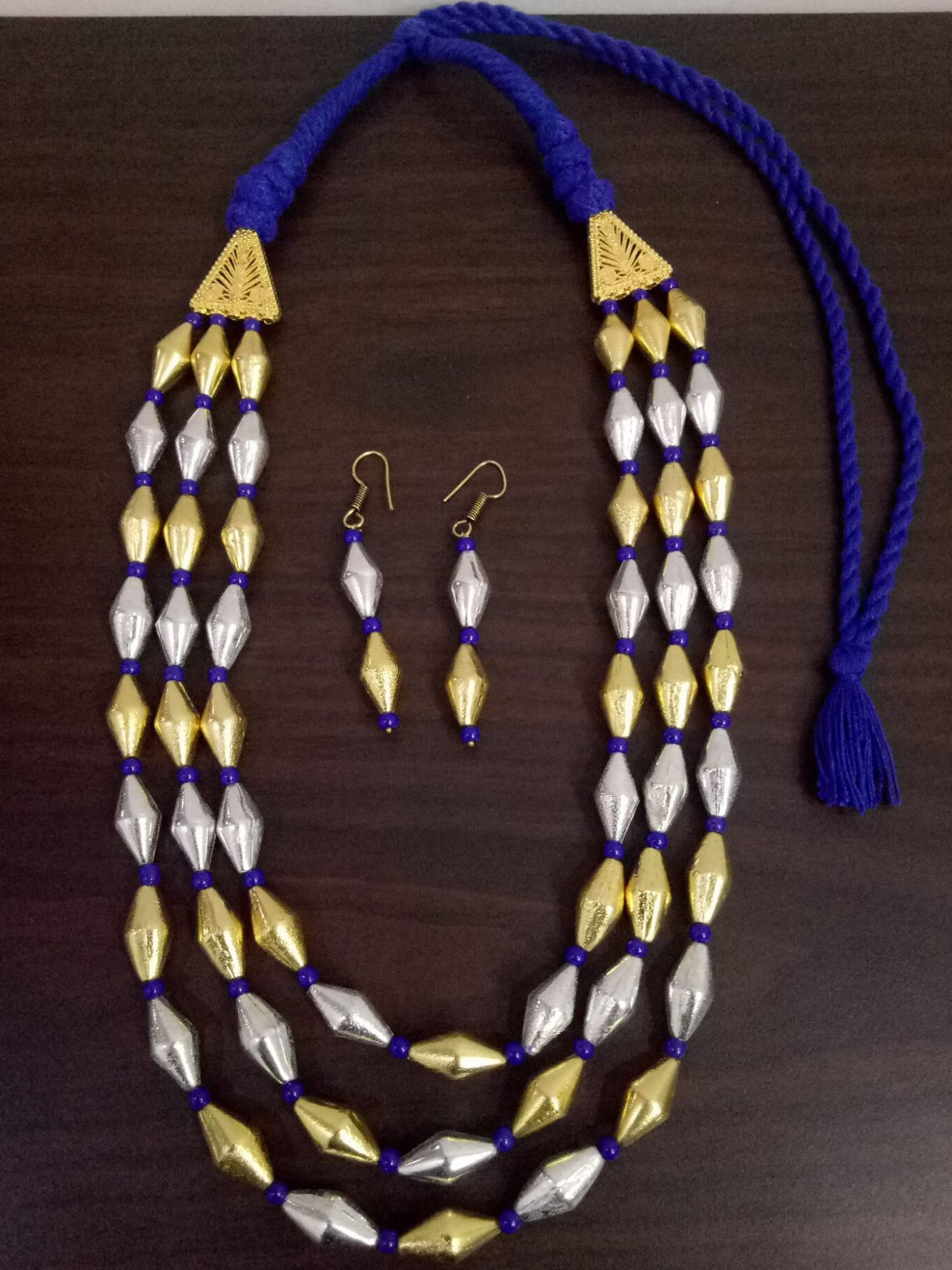 Exclusive Dual Tone 3 Layer Dholki Mala Set