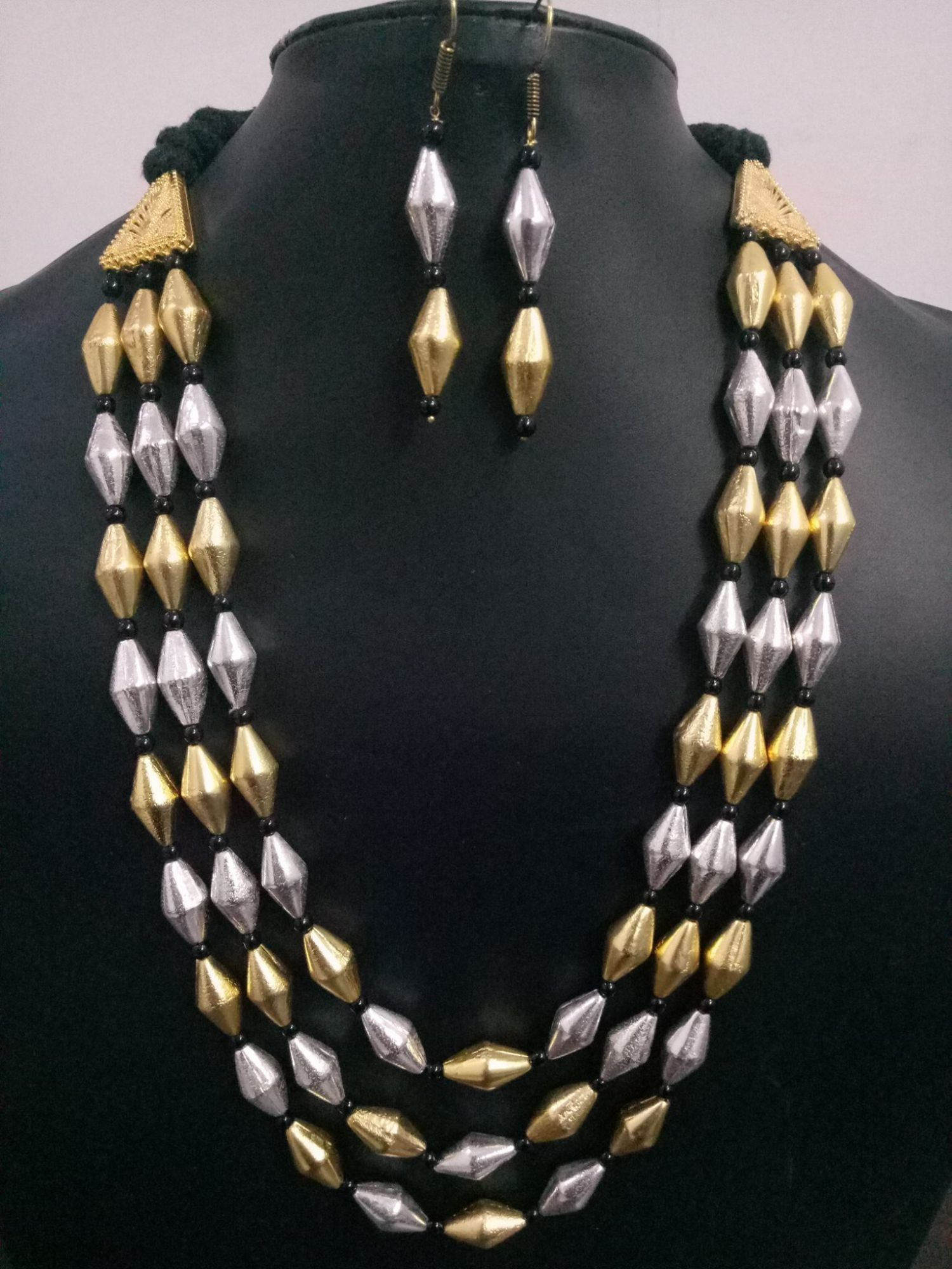 Beautiful 3 Layer Dual Tone Dholki Mala Set