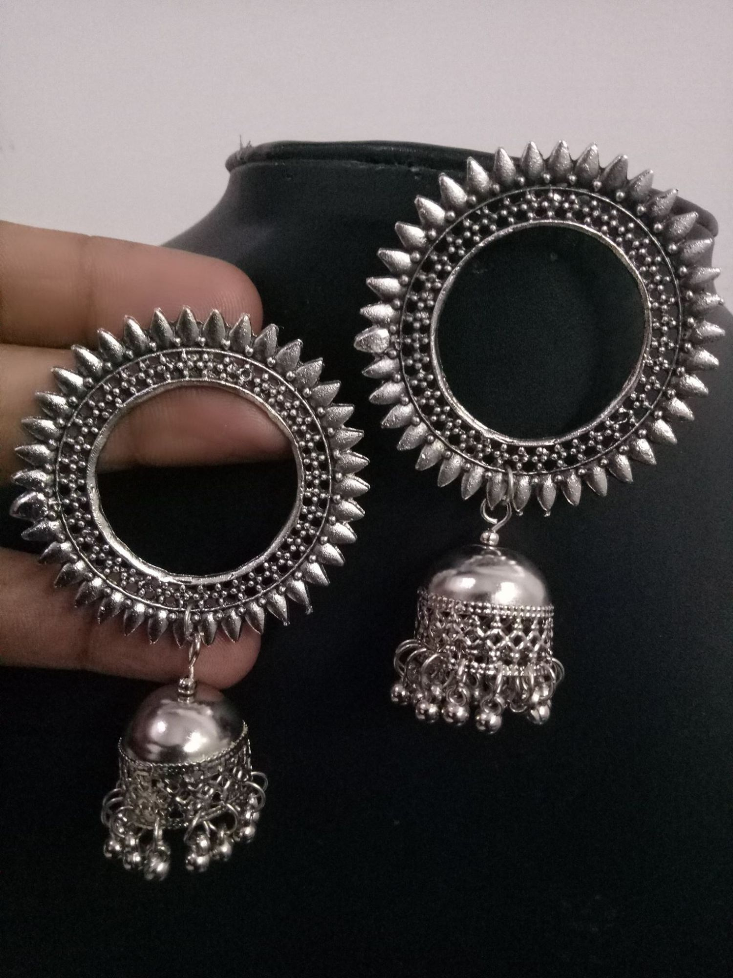 Stylish Oxidised Silver Jhumka