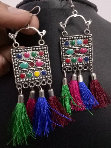 Beautiful Colorful Afgani Tassel Earrings