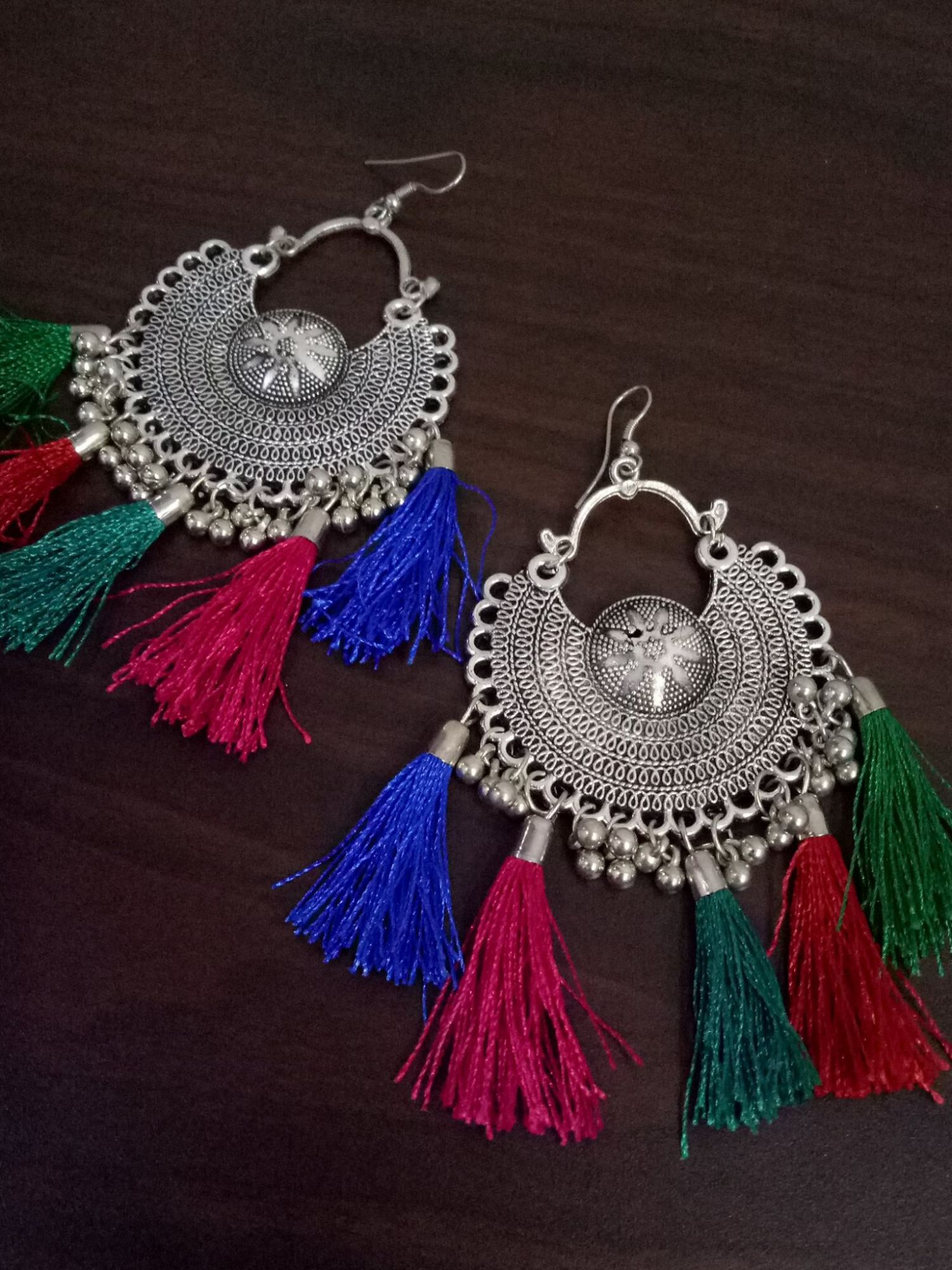 Oxidised Tassel Bali Earrings