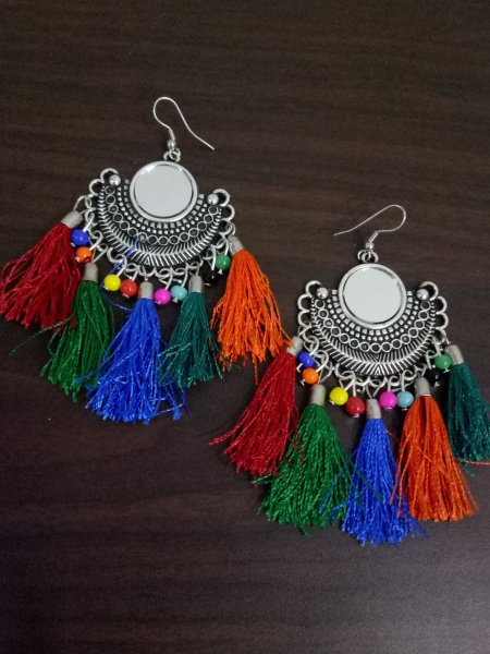 Pretty Colorful Mirror Tassel Earrings