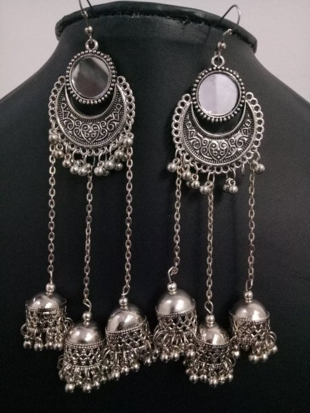Beautiful Long Mirror Triple Jhumki