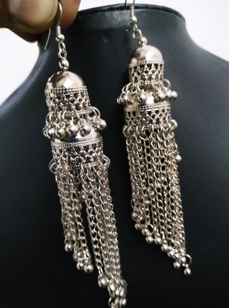 Oxidised Long Chain Double Jhumka