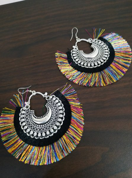 Glorious Oxidised Chandbali Tassel Earrings
