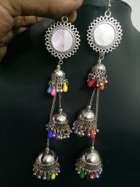 Marvellous Mirror Triple Long   Jhumka