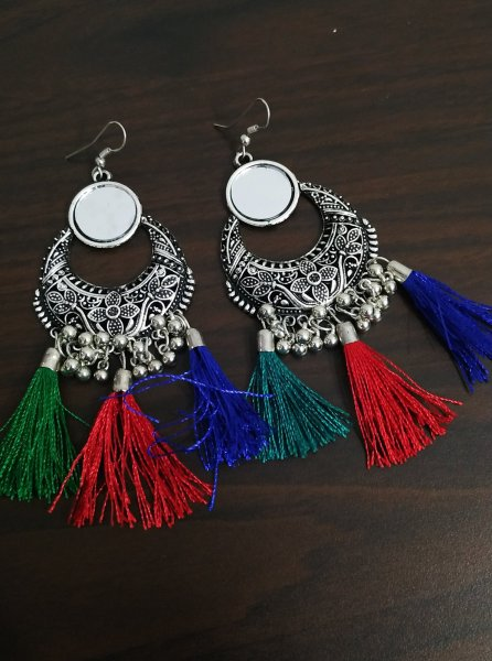 Partywear Oxidised Mirror Long Tassel Earrings