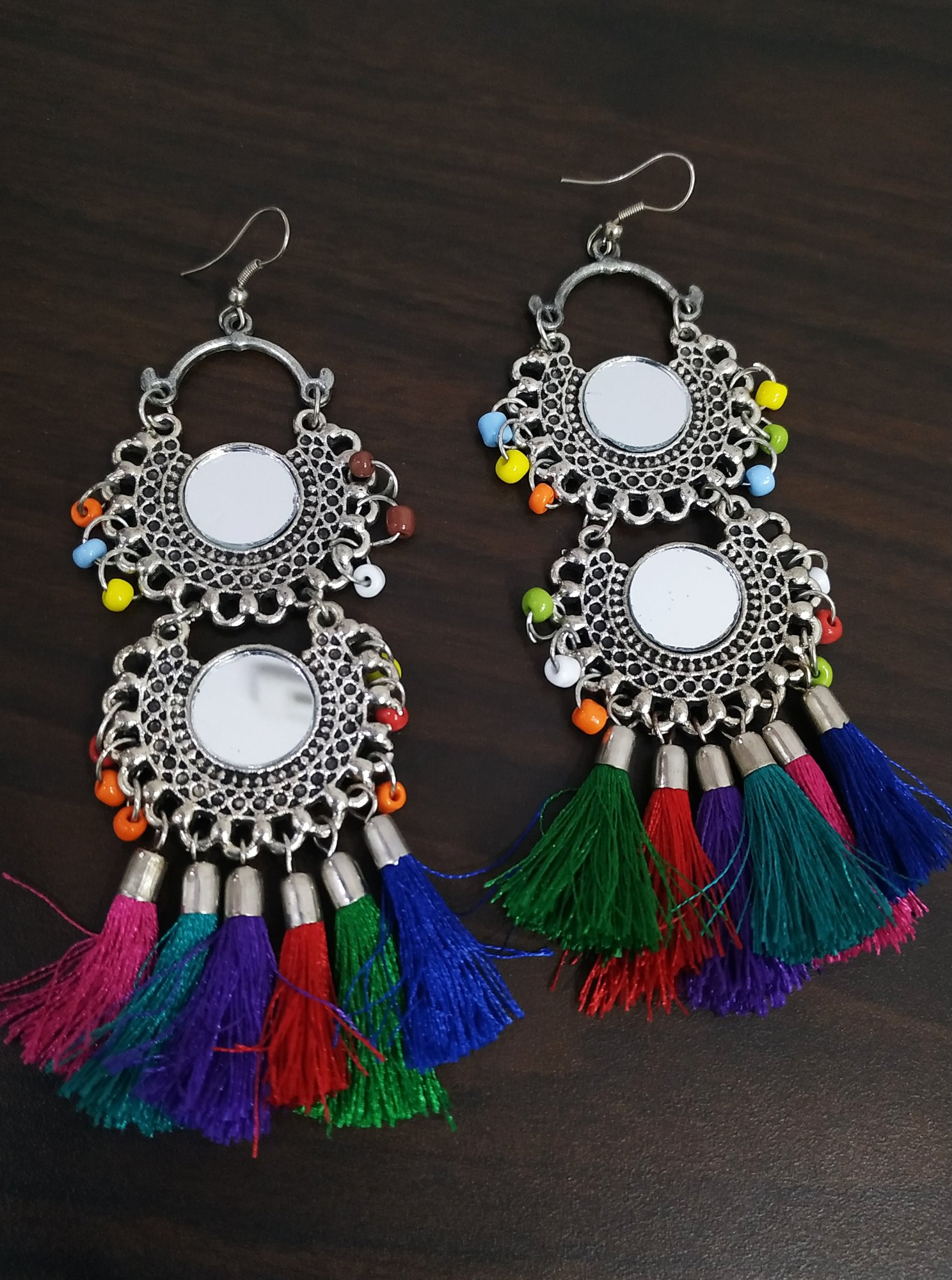 Appealing Long Oxidised Mirror Tassel Earrings